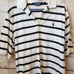 Polo Golf Black And White striped (LG)